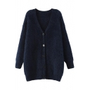 Navy Plain V-Neck Fluffy Knit Single-Breast Tunic Cardigan