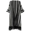 Stripe Jacquard Bat Short Sleeve Tassel Trim Open Front Kimono Cardigan
