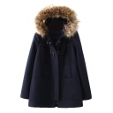 Long Sleeve Plain Zipper Fly Wool Coat with Fluffy Hood and Buckles