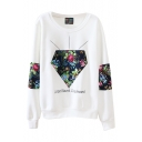 Round Neck Flower Print Cloth Panel Long Sleeve Sweatshirt