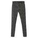 Mono Plaid High Waist Fitted Cotton Pencil Pants
