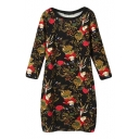 Floral Print Round Neck Long Sleeve Fitted Pencil Dress