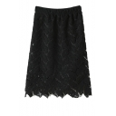 Plain High Elastic Waist Leaf Pattern Lace Skirt