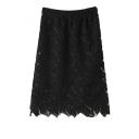 Plain High Elastic Waist Leaf Pattern Lace Skirt