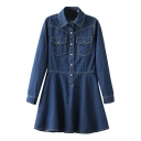 Plain Point Collar Long Sleeve Flared Denim Dress with Double Pocket