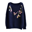 Preppy Look Raglan Sleeve Floral Embroidered Long Sleeve Sweater