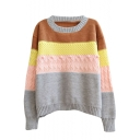 Horizontal Color Block Manual Thread Ball Round Neck Long Sleeve Sweater