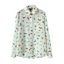 White Colorful Insect Print Lapel Pockets Single Breast Blouse
