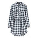 Plaid Print Lapel Single Breast Belted Dress with Double Pocket