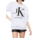 White Background Just Kidding Print Round Neck Long Sleeve Sweatshirt