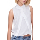 Pure White Point Collar Sleeveless Chiffon Top with Split Front