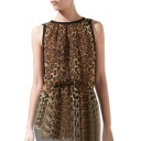 Leopard Print Sleeveless Gathered Waist Top with Contrast Trim
