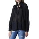 Sexy Plunge Neck Black Sheer Pleated Fitted Blouse