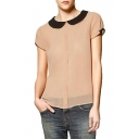 Contrast Peter Pan Collar Short Sleeve Shirt with Button Back