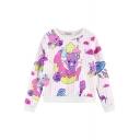 Cartoon Bear&Moon Print Round Neck Cropped Sweatshirt