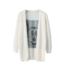 Cartoon Pattern Mohair Knitted Cardigan