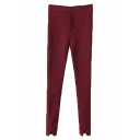 Plain Elastane Split Cuff Full Length Pants with Single Button and Added Hair