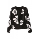 Monochrome Flower Print Open-front Cropped Blazer with Long Sleeve
