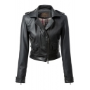Notched Lapel Plain Cropped Motorcycle Jacket with Zipper and Pocket Details