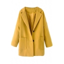 Plain Notched Lapel Single-Breasted Long Sleeve Coat with Double Deep Pocket Front