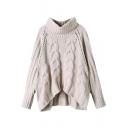 Plain Cable Knit Open Knit High Low Hem Raglan Sleeve Turtleneck Sweater