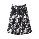 Black Fitted White Floral Print High Rise Midi Skirt