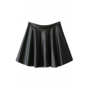 Plain PU Zipper Fly Side Pleated Flare Skirt