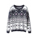 Vintage Geometric Jacquard Round Neck Long Sleeve Sweater