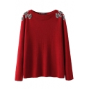 Plain Tree Embellished Sequined Boat Neck Long Sleeve Sweater