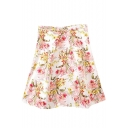 Floral Print High Waist Pleated Zipper Fly Skirt