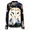 Owl and Butterfly Print Long Sleeve Lapel Shirt