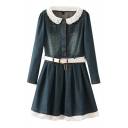 Peter Pan Collar Long Sleeve Denim Belted Dress with Lace Crochet Trim