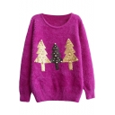 Christmas Tree Sequins Beaded Round Neck Long Sleeve Mohair Sweater