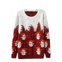 Christmas Snowman Pattern Long Sleeve Sweater with Round Neckline