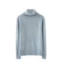 Plain Long Sleeve High Collar Slim Sweater with Rib Kit Trim