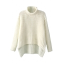 Plain Chunky Knitted Long Sleeve Sweater with High Collar and High-low Hem