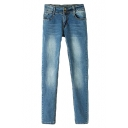 Light Wash Faded Pencil Jeans with Double Buttons Front