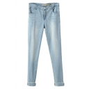 Simple Light Wash Low Rise Fitted Pencil Jeans