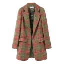 Check Print Lapel Collar Open Front Pocket Woolen Coat
