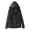 Plain Fur Panel Zipper Fly Long Sleeve Cotton Added Coat with Drawstring Hood