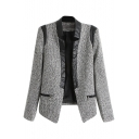 Gray PU Insert Collar Zippered Pockets Long Sleeve Open Front Blazer