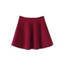 Plain Fitted Zipper Fly Ruffle Hem Mini Skater Skirt