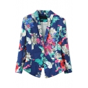 Lapel Floral Print Single Button Blazer with Asymmetrical Hem