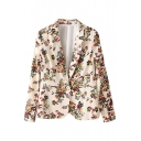 Notched Lapel Floral Print Single Button Blazer with Long Sleeve