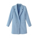 Notched Lapel Plain Tunic Blazer with Double Pocket and Concealed Button