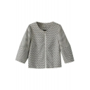 Plain Round Neck Niblet 1/2 Sleeve Zip Fly Crop Coat