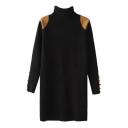 Yellow PU Panel Long Sleeve Longline Slim Sweater with High Collar
