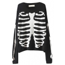 Long Sleeve Skeleton Pattern Sweater with Round Neck