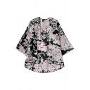 Orange Floral Print 3/4 Sleeve Kimono