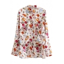 Floral Print Lapel Single-Breast Pockets Long Sleeve Tunic Blouse